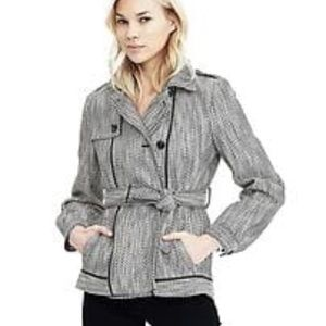 Banana Republic Black & White Belted Peacoat